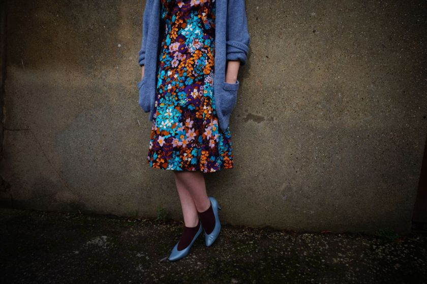 vintage dress with layered retro blue cardigan by super queenie retro vintage