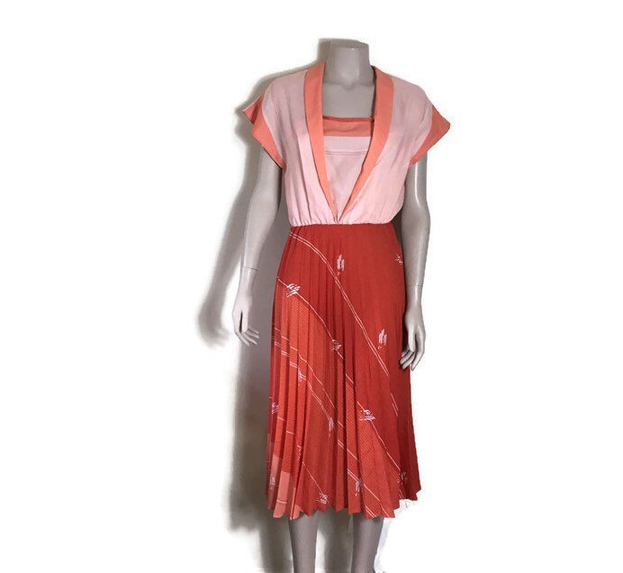Vintage red and salmon dress