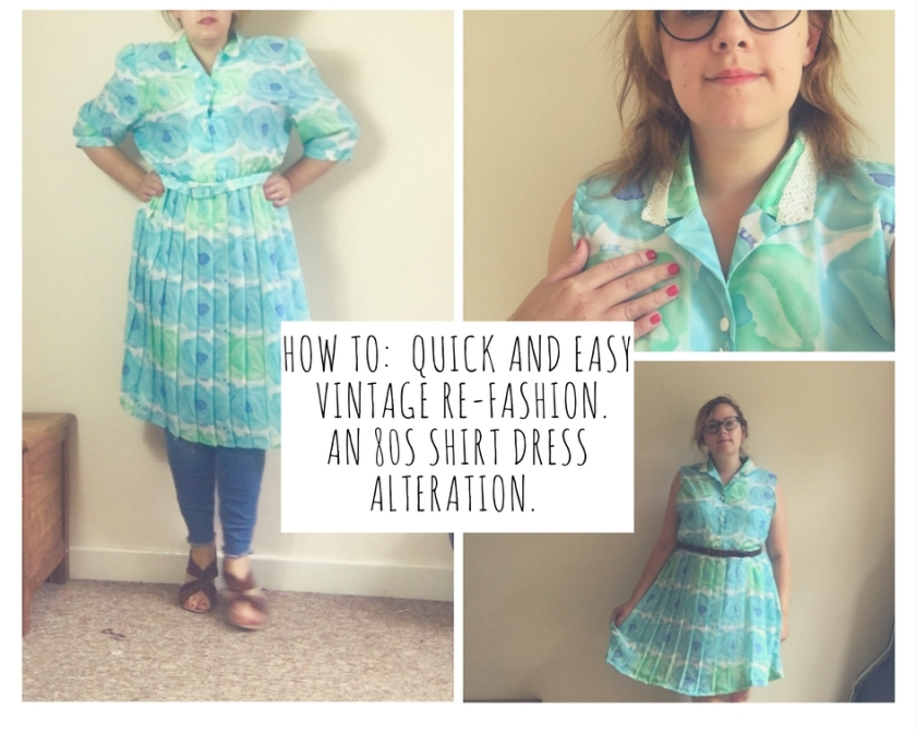 How to quick and easy vintage re-fashion. An 80s shirt dress re-fashion.
